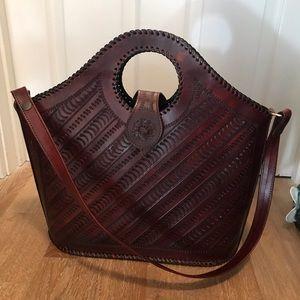 Burgundy Tooled Leather Bag